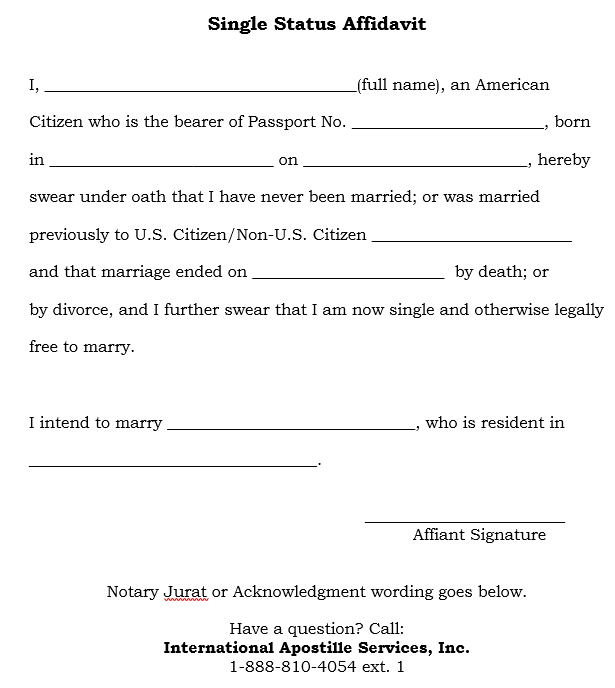How to apostille a single status affidavit the purpose of this document is to provide proof that you are currently not married to another person in the usa if you have been previously married altavistaventures Choice Image