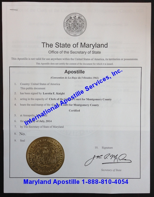 Maryland Apostille Example