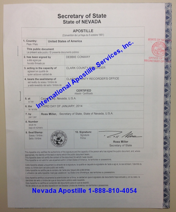 Example of Nevada Apostille