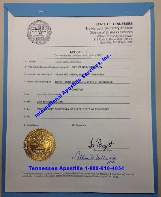 Example of Tennessee Apostille