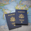 Passports on a map of the world with limited depth of field