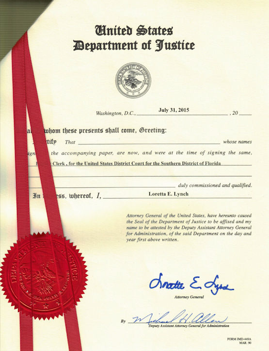 United State Department of Justice Apostille Example