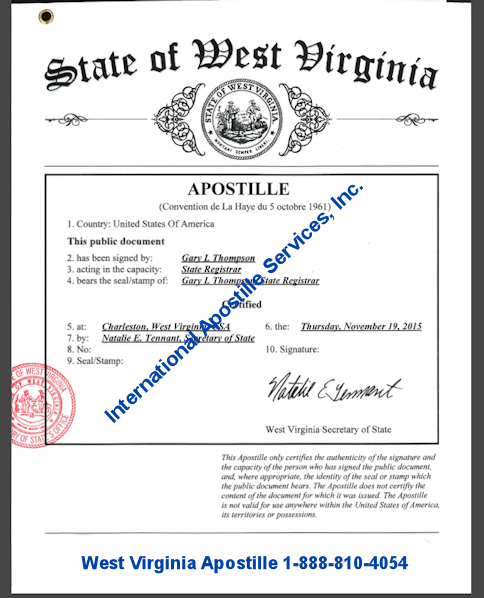 Example of West Virginia Apostille