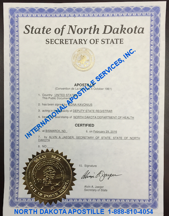 Example of North Dakota Apostille