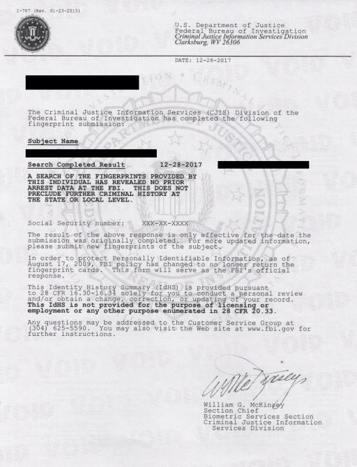 FBI Criminal Record Check Apostille